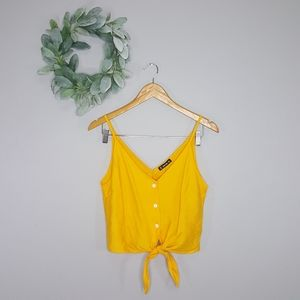 NWOT Shein Cropped Tie Front Mustard Tank Top